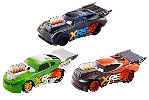 Mattel GHL18 - Disney Cars Xtreme Racing Serie Dragster-Rennen Die-Cast 3er-Pack, mit Jackson Storm, Nitroade und Brick Yardley Fahrzeug