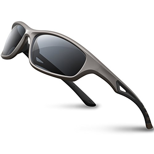 RIVBOS Polarized Sports Sunglasses Driving Glasses Shades for Men Women Tr90 Frame for Cycling Baseball Running 842 (Grey, Black Polarized Lens)