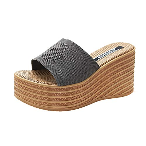 Damen Sandalen Keilsandalen Plateausandalen mit Strass Plateauschuhe Wedge Platform Beach Strandsandale Slingback Peep Toe Slip On Sommer Sandals Freizeitschuhe(7-Grau/Gray,39)