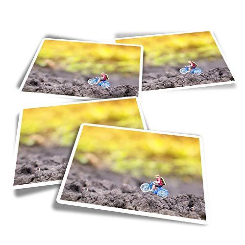 Pegatinas rectangulares de vinilo (juego de 4) – Calcomanías divertidas para ciclistas de montaña en miniatura para ordenadores portátiles, tabletas, equipaje, reserva de chatarra, frigoríficos #12514