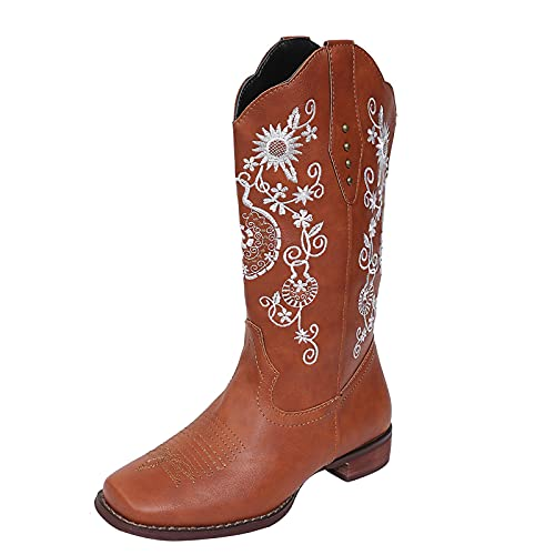Western Cowboy Boots for Women Vintage Sunflower Embroidery Chunky Mid-Heels Wide Mid Calf Boot Non-Slip Winter Shoes Brown