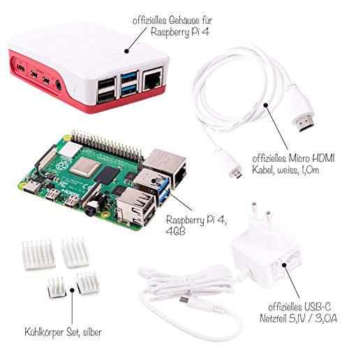 Sertronics Raspberry Pi 4 4GB Light Starter Set inkl. Offiziellen Case, offiziellem Netzteil und dem Raspberry Pi 4 4GB, weiß