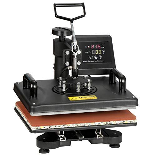 F2C 5 in 1 Pro Heat Press Machine 12x15 Digital Heat Transfer Sublimation Swing-Away for Hat Mug Plate Cap T-Shirt 360-degree Rotation Multifunction Combo Kit Black 110V