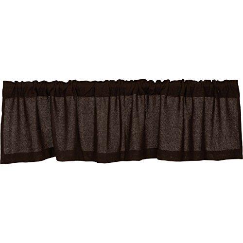 VHC Brands Burlap Chocolate Valance 16x72 Country Curtain, Dark Brown