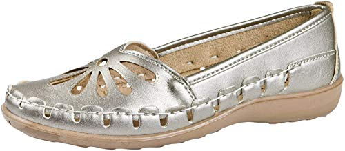 LD Outlet, Mocassini donna, Argento (Pewter), 35
