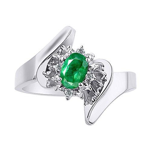 Anillo de plata de ley con diamantes y esmeralda – Halo de diamante – Anillo de piedra de nacimiento de color