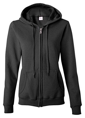 Gildan Damen Sweatshirt mit Kapuze und Reißverschluss - Schwarz - XX-Large