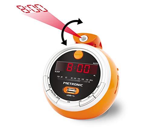 Metronic 477023 Juicy Radio réveil FM USB projection double alarme avec fonctions sleep/snooze et piles de sauvegarde de l'heure - Orange