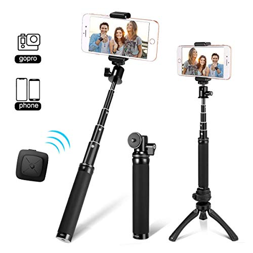 "Fotopro 28"" Selfie Stick Tripod with Bluetooth Remote Cliker, Phone Tripod Mount, Removable Mini Tripod, for Android Smartphone iPhone X 7 Plus, Samsung Galaxy S9 Note 8, Huawei P20, Best Travel Gifts"