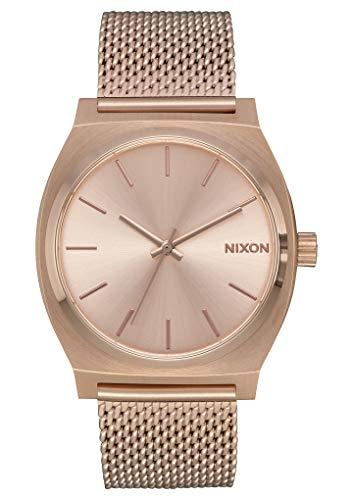 Nixon Time Teller Milanaise Damennuhr Analog Quarz mit Edelstahl Armband All Rose Gold