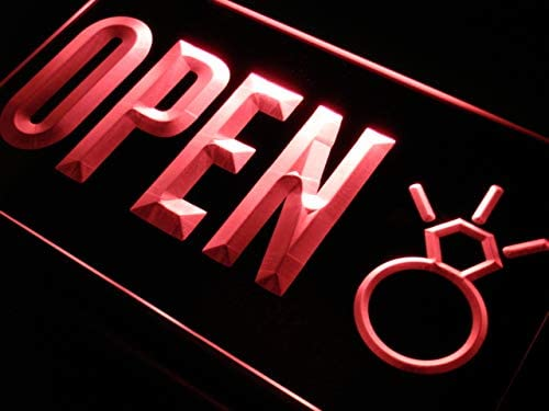 ADVPRO Open Diamond Shop Jewelry Buy Popular product Sell Red All stores are sold LED Neon Sign 16 x