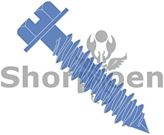 SHORPIOEN Blue Slotted Hex Washer Concrete Screw 1/4 x 2-1/4 (Pack of 10)