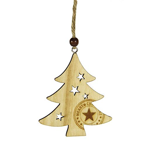 STEFANAZZI set 12 pezzi abete in legno decorazioni per albero di Natale addobbi natalizi da appendere per decorare la casa segnaposto, decorazioni per ghirlande