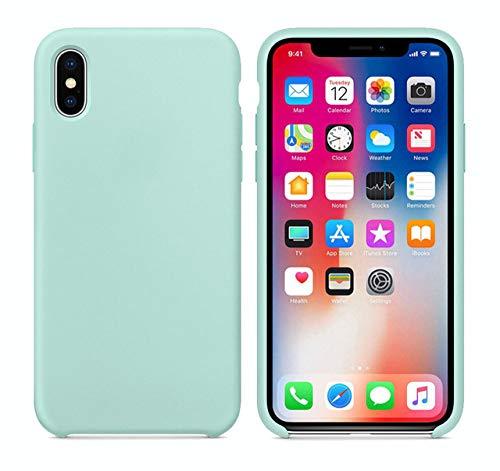 HSXQQL officiële vloeibare siliconen hoesje voor Apple iPhone 7 8 Plus Back Cover voor iPhone X Xs Max XR 6 6S Plus hoesje Covesr met doos, zee blauw, voor iPhone XR