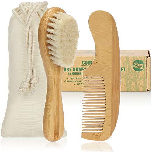 com-four® Set Premium para el Cuidado del Cabello de bebé de 2 Piezas, Mini Cepillo de bambú con cerdas Suaves de Lana de Oveja y un pequeño Peine de peluquería (Peine + Cepillo para el Pelo - Oveja)