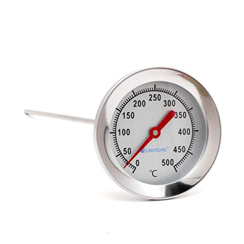 Lantelme 4897 Thermometer, 500 °C, 50 cm, roestvrij staal, grill, braadoven, oven, pizzaoven, houtoven, analoog, bimetaal