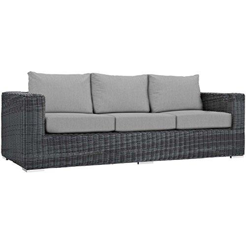 Modway Summon Wicker Rattan Outdoor Patio Sunbrella Sofa in Canvas Gray