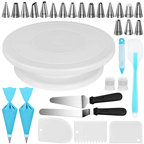 Kootek 30 Pcs Cake Decorating Kit Supplies with Cake Turntable 18 Numbered Piping Tips Pastry Bags Frosting Spatula Icing Smoother Decoration Pen Coupler Cake Baking Accessories