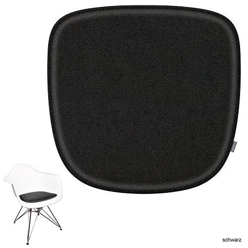 noe Eco Filz Sitzkissen geeignet für Vitra Eames Armchair - DAW,DAR,RAR,DAX,DAL,Rocker - 29 Farben - optional inkl. Antirutsch und gepolstert (Oberseite - schwarz)