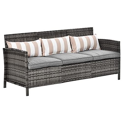 Outsunny Rattan Sofa mit Kissen, Dreisitzer, Garten Loungesofa, Stahl, Grau, 173 x 68 x 78 cm
