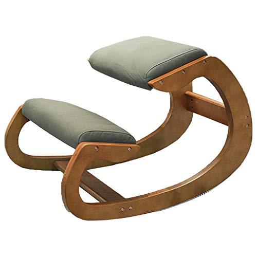 Kniestühle Korrektur kniender Stuhl Massivholz Kinderlernstuhl Korrektiver Sitzstuhl gegen Kyphose Bürocomputer Stuhl Bequemer Schaukelstuhl Sicher und gesund (Color : Green, Size : 50 * 55cm)