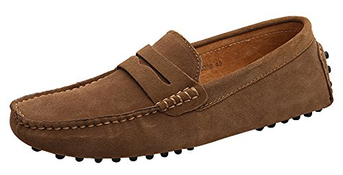 Yaer Mocassins Cuir Suedé Classic Homme Chaussure (Khaki EU41)