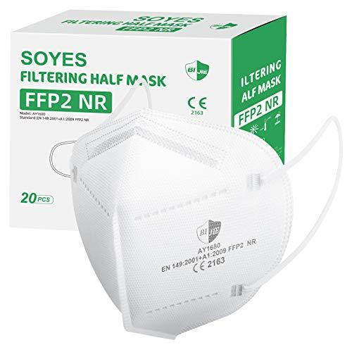 SOYES FFP2 maschere, certificazione CE, Conforme alla norma EN149: 2001 + A1: 2009, 5 strati di protezione, Progettazione 3D(20 pezzi)