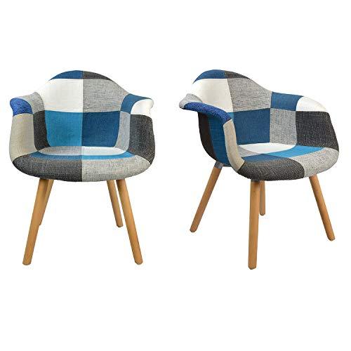 N/A Juego de 2 sillas de comedor silla de cocina silla de diseño con respaldo de lino piezas de madera maciza sillones de tela multicolor con tapicería de patchwork (Azul-BB)