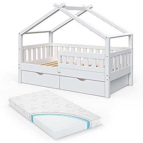 VitaliSpa Design Kinderbett 160x80 Babybett Jugendbett 2 Schubladen Lattenrost (Weiß mit Matratze)