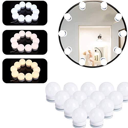 IWILCS LED Spiegelleuchte, Spiegel Make-UP Licht, Schminktisch Beleuchtung, Hollywood-Stil Schminklicht für Kosmetikspiegel/Badzimmer Spiegel (14er Set)