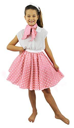 ILOVEFANCYDRESS Falda Y PAÑUELO para EL Cuello Rosa Claro con Puntos Blancos para Disfraz Infantil con DESEÑO DE Puntos Estilo AÑOS 50 Rock N Roll