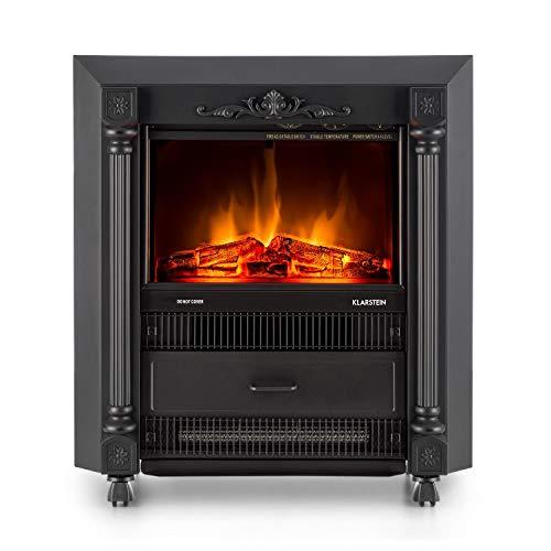 Klarstein Grenoble Elektrischer Kamin Retro Design Kamin-Ofen (leise mit lodernden Flammen-Effekt, mobil mit Bodenrollen, 2000W Quarz-Heizlüfter) schwarz - 2