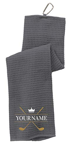 Personalized Custom Golf Towel Gift - Choose Your Golf Clubs Design and Add Embroidered Name - Trifold Golf Towels for...