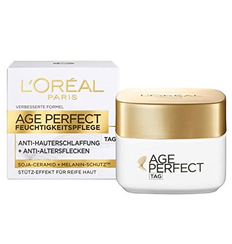 L'Oréal Paris Tagespflege, Age Perfect, Anti-Aging Feuchtigkeitspflege, Stütz-Effekt und Anti-Altersflecken, Für reife Haut, Mit Soja-Ceramid und Melanin-Schutz, 50 ml