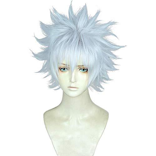 PWEINCY Killua Cosplay-Perücke, kurz, stachelig, silber-weiß, Halloween-Party, Anime-Haar