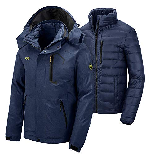 Wantdo Men's 3 in 1 Trip Down Jacket Waterproof Winter Snow Coat Navy L