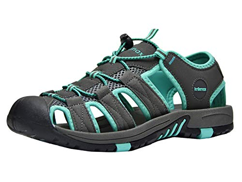 Knixmax Men's Closed Toe Sport Sandals Breathable Water Shoes Athletic Summer Sandal for Hiking Gardening Beach Outdoor Dark Grey 12 US