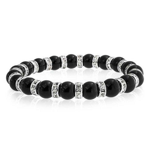 Bling Jewelry Black ónix Bola Perla Stackable Strand Pulsera elástica para Las Mujeres Blanco Cristal Rondelle Espaciador Plata Plateado latón