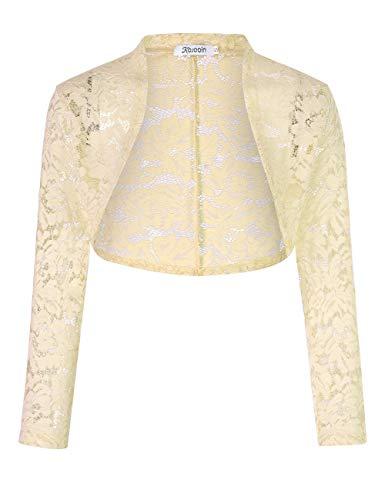 KOJOOIN - Bolero da donna in pizzo, corto, a maniche lunghe, per abito da cocktail (imballaggio) beige L