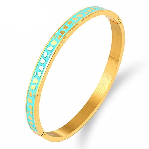 CLEARNICE Joyería Brazaletes Y Pulseras De Esmalte Azul Dorado para Mujer Brazaletes con Dijes De Acero Inoxidable Brazaletes De Color Oro Rosa Perímetro Interior 16,8 Cm
