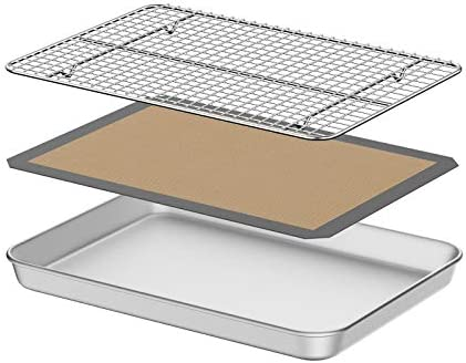 Baking Sheet with Silicone Mat Umite Chef 10 inch Cookie Sheet Baking Pan Non Toxic Silicone product image