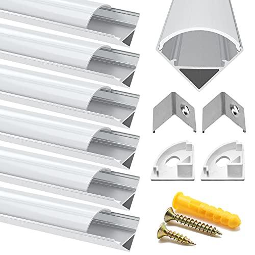 Chesbung 6 Pack V LED Profilo in Alluminio Per Luci LED Strip con copertina, bianca Lattea,Tappi di Chiusura Laterali. Canalina di Alluminio con Cover, Montaggio Universale-Argento-1M