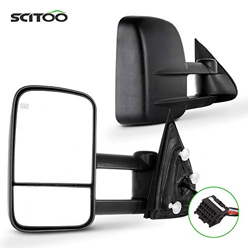 SCITOO fit for Chevy for GMC Towing Mirrors Black Tow Mirrors fit 2014-2018 for Chevy Silverado for GMC Sierra 1500 2015-2018 for Chevy Silverado for GMC Sierra 2500 HD 3500HD with Power Heated