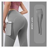 ポケットプラスサイズのレギンススポーツガールジムレギンスジョギングタイツ女性フィットネスパンツトラックスーツハイウエスト (色 : Grey, サイズ : X-Large)