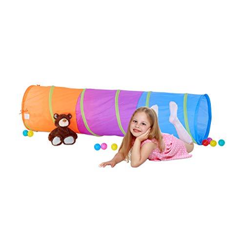 Relaxdays Spieltunnel für Kinder, farbenfroher Krabbeltunnel f. Jungen und Mädchen, robuster Pop Up Kriechtunnel, bunt