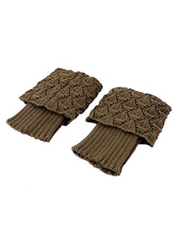 sourcingmap® 1Paar Damen Winter Strickt Häkeln Beinwärmer Stiefel Abdeckung Cuff Socken Khaki