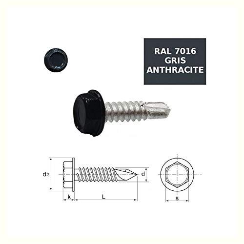 Vis autoperceuses 4,2x13 mm RAL 7016 gris anthracite t/ête cylindrique Torx par 100