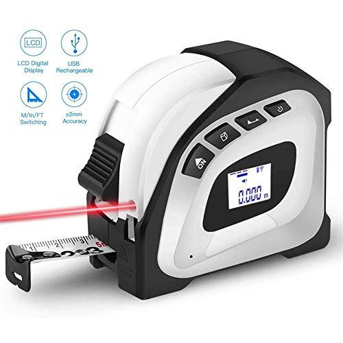 N / A 2-in-1 Laser Bandmaß, 131 Ft Laser Messen, 16 Ft messen, mit LCD-Digital-Display und USB aufladbare, Geeignet für DIY, Baumaschinen