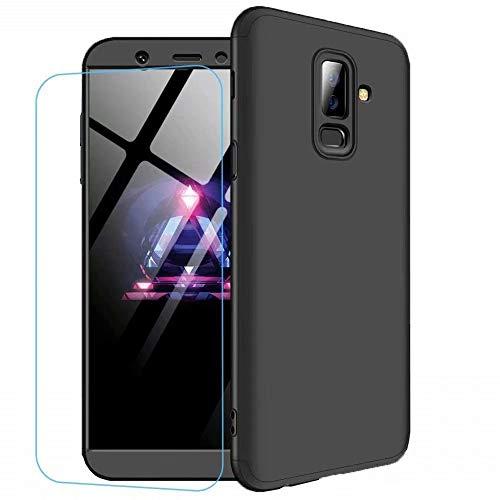 Funda Samsung Galaxy J8 2018 Ttimao PC Hard Case [Película de Cristal Templada] Anti-Shock Ultrafino 360 ° Caja Protección Tres en Uno Cubierta Protectora (Negro)
