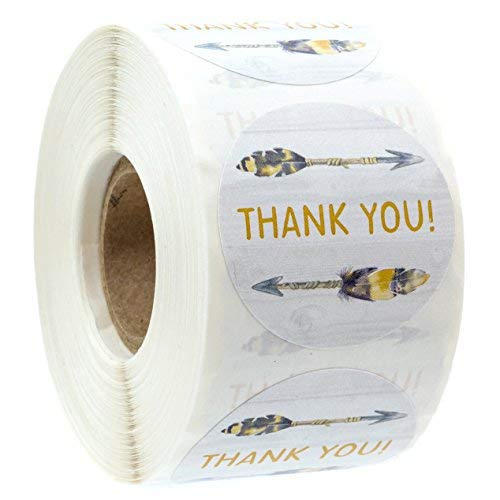 """Bohemian Arrow Thank You Stickers - 1.5"""" Circle Labels/500 per Pack Bohemian Chic Thank Yous"""
